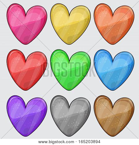 Nine matted color heart web buttons on white - vector set