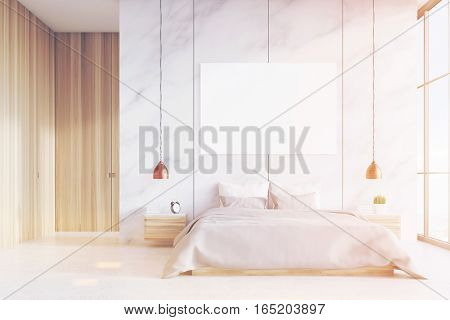 Front View Of Bedroom: Double Bed, Poster, Toned