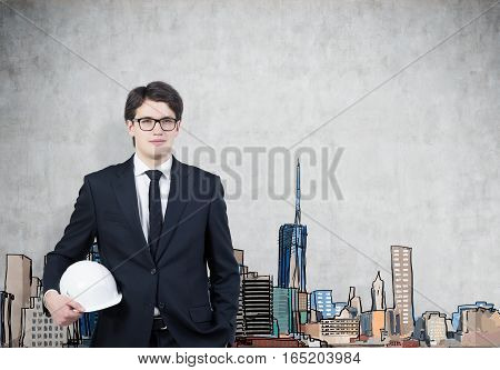 Man In Hardhat And Glasses, Colored City