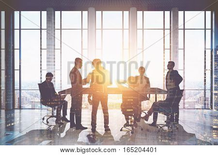 Meeting room. Group of businessmen around a table discussing work issues. Sunlight. 3d rendering. Toned image. Double exposure