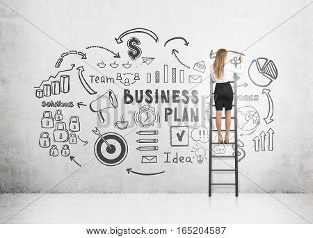 Rear view of a blond woman standing on a ladder and drawing a black business plan sketch on a concrete wall.