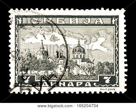 SERBIA - CIRCA 1943 : Cancelled postage stamp printed by Serbia, that shows Monastery Zica.