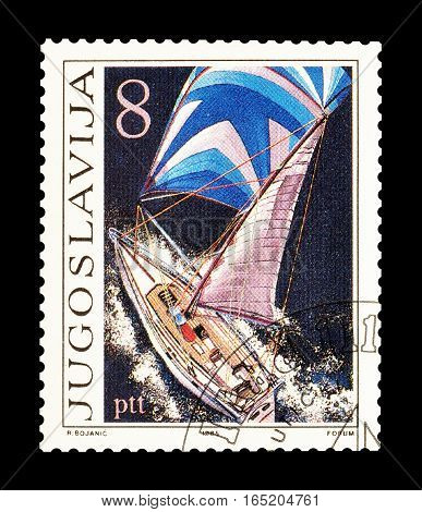 YUGOSLAVIA - CIRCA 1985 : Cancelled postage stamp printed by Yugoslavia, that shows Sailing boat.