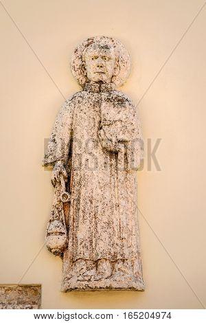 NIN CROATIA - JULY 30 2015: Early Christian artefact in center of historic city Nin Croatia