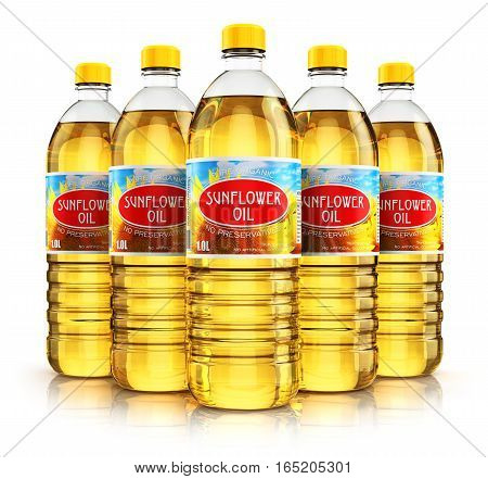 3D render illustration of the group of five plastic bottles with yellow refined vegetable sunflower cooking oil or organic fat isolated on white background with reflection effect