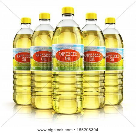 3D render illustration of the group of five plastic bottles with yellow refined vegetable rape or rapeseed cooking oil or organic fat isolated on white background with reflection effect