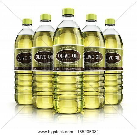 3D render illustration of the group of five plastic bottles with yellow refined vegetable olive cooking oil or organic fat isolated on white background with reflection effect