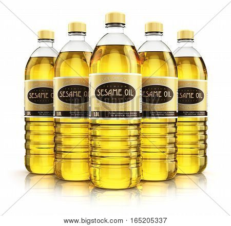 3D render illustration of the group of five plastic bottles with yellow refined vegetable sesame seed cooking oil or organic fat isolated on white background with reflection effect