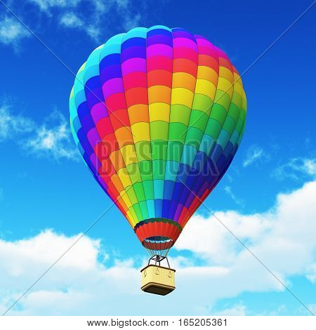 3D render illustration of color rainbow hot air balloon with gondola basket outdoors in the blue sky with clouds