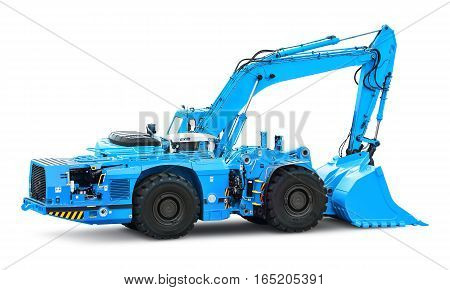 Big heavy blue industrial hydraulic wheel excavator or bulldozer isolated on white background