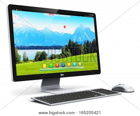 3D render illustration of modern professional desktop computer PC workstation with screen or monitor display with nature landscape keyboard and mouse isolated on white background