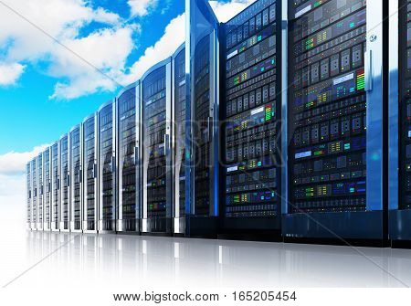 3D render illustration of rows of network servers in data center against blue sky with clouds on white background with reflection effect