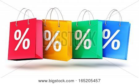 3D render illustration of the group of color paper shopping bags with percent text signs or symbols isolated on white background