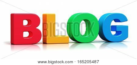 3D render illustration of color 3D Blog word text isolated on white background with reflection effect