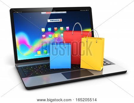 3D render illustration of the group of color paper shopping bags on modern laptop or notebook computer PC keyboard isolated on white background