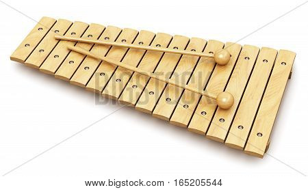 3D render illustration of wooden xylophone with two wood drum sticks isolated on white background