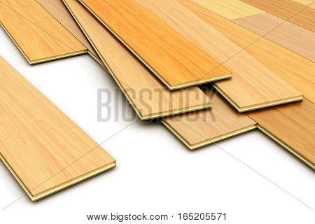 3D render illustration of the set of color wooden laminated polished construction planks for wood parquet flooring isolated on white background