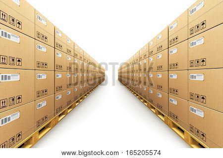 3D render illustration of the storage warehouse with row of stacked cardboard boxes with packed goods on wooden shipping pallets isolated on white background
