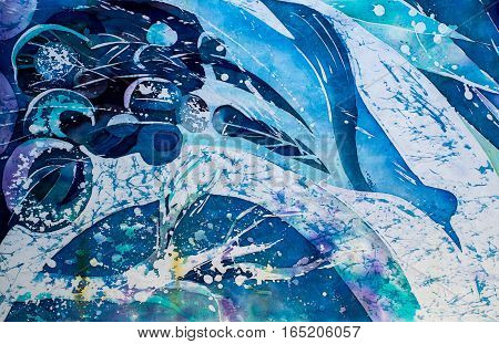 Flying peacock turquoise hot batik background texture handmade on silk abstract surrealism art