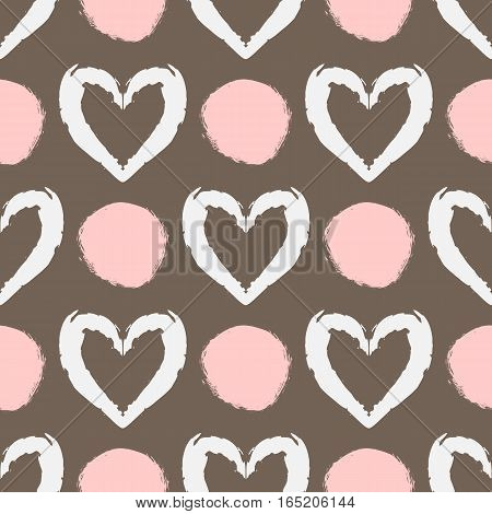 Seamless pattern with silhouettes of hearts and abstract stains painted rough brush. Repeated grunge texture. White pink brown.