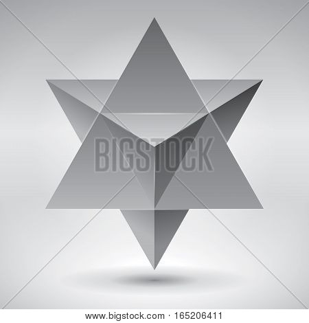 Merkaba, 3d crystal, geometry shape, volume star, abstract vector object poster
