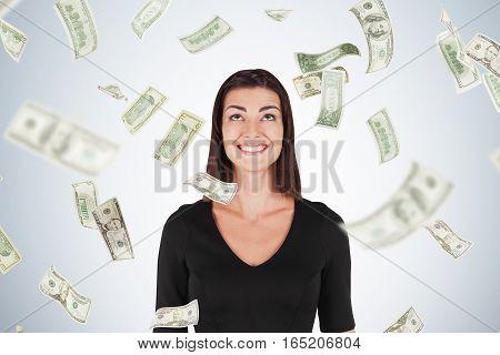 Happy Woman With Black Hair, Dollar Bills Falling