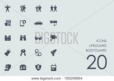 lifeguard bodyguard vector set of modern simple icons