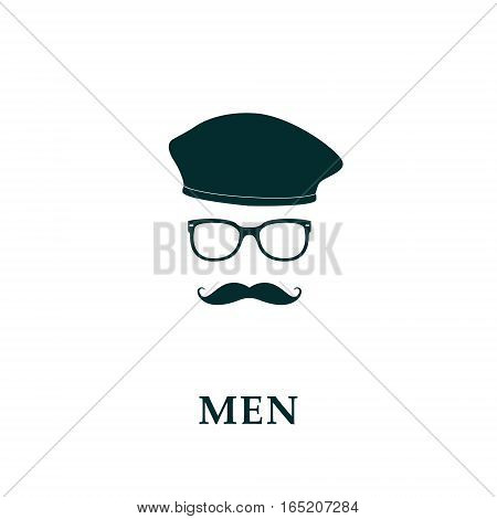 Men french beret and mustache icon in flat style. Vector illustration.