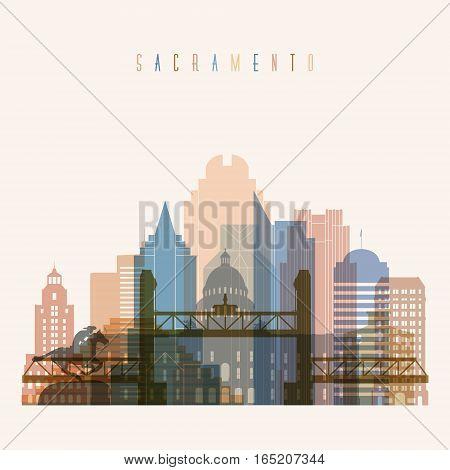 Transparent style Sacramento state Nevada skyline detailed silhouette. Trendy vector illustration.