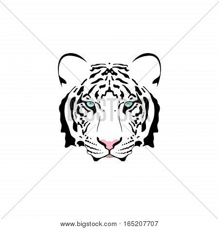 Vector illustration of a white tiger head with blue eye. Suitable as tattoo team mascot symbol for zoo or animal preservation center.
