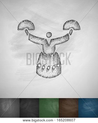 Korean woman icon. Hand drawn vector illustration. Chalkboard Design