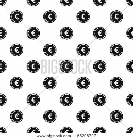 Coin with euro sign pattern. Simple illustration of coin with euro sign vector pattern for web