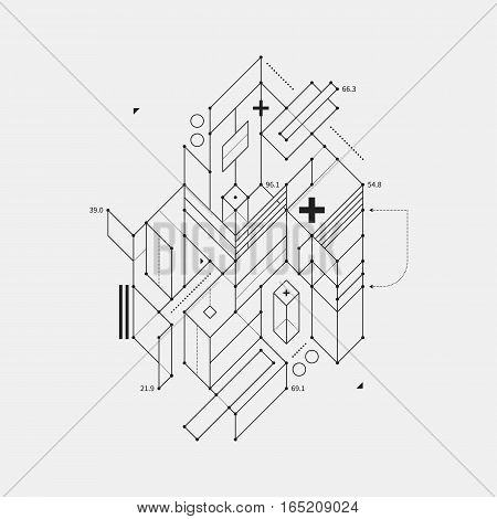 Abstract Design Element In Draft Style On White Background. Useful For Techno Prints And Posters.