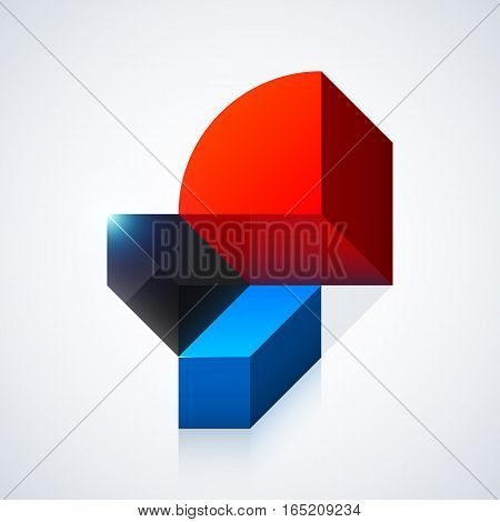 Vector Illustration Of Abstract 3D Sculpture On White Background.