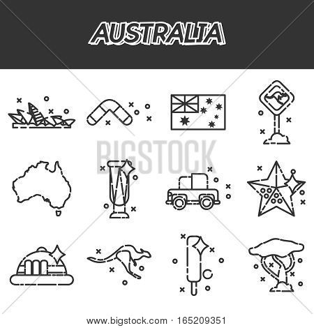 Australia icons set. Vector illustration EPS 10