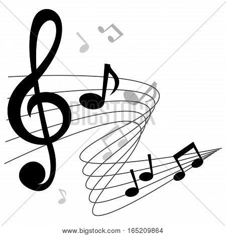 Music notes (chords) background design with treble clef.