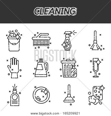 Cleaning style icons set. Template elements for web and mobile applications