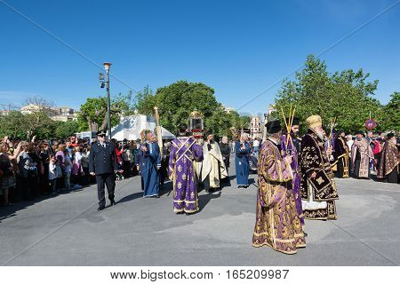 CORFU GREECE - APRIL 30, 2016: The procession with the relics of the patron saint of Corfu Saint Spyridon. Epitaph and litany of St. Spyridon.