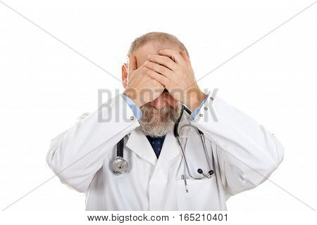 Picture of a doctor having serious problems - isolated background