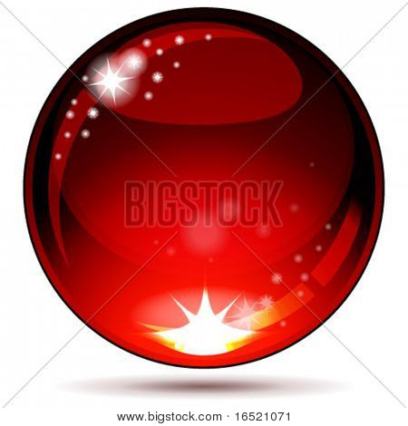 Eps Red glossy sphere isolated on white.