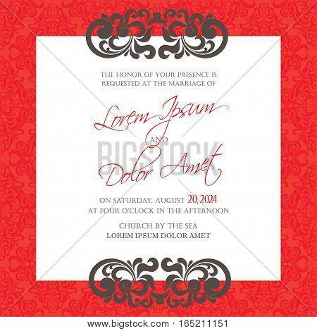 Luxury vintage wedding invitation floral decorative card