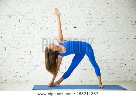Young attractive woman practicing yoga, standing in extended triangle exercise, Utthita Trikonasana pose, working out, wearing sportswear, blue suit, indoor full length, white loft studio background