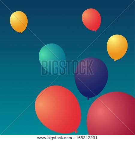 Balloon in the sky Vector illustration Six colorful balloons rising in the sky Realistic style