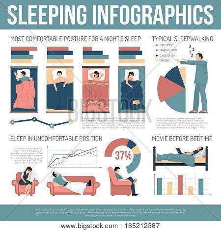 Sleeping infographics layout with information about most comfortable postures and actions dangerous to healthy sleep flat vector illustration