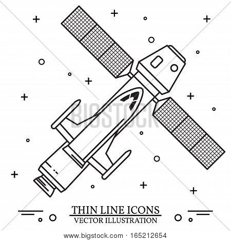 Space Ship flying in space on the white background. Human mission to Mars. For web design and application interface, also useful for infographics. Spaceship thin line icon. Vector Illustration.