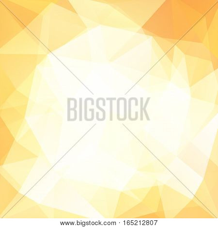 Geometric Pattern, Polygon Triangles Vector Background In Yellow, White, Beige Tones. Illustration P