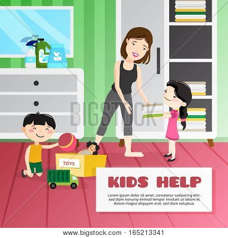 Smiling kids helping their mother cleaning room cartoon vector illustration
