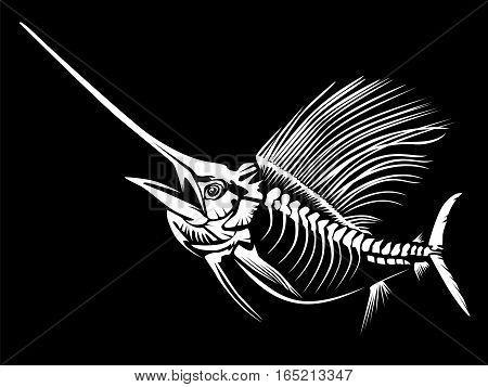 Sail Fish Skeleton Isoated On Black