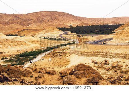 Mountain roads in Sahara, Tunisia, Northen Africa
