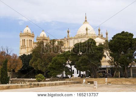 Tunisia. Ancient Carthage - Byrsa hill. Saint Louis cathedral